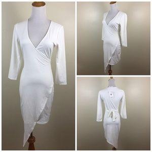 NWT NYMPHE Los Angeles Asymmetric Hem Belted Dress